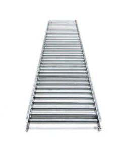 "Gravity Roller Aluminum Frame Conveyor 10' Straight Sections 18"" Wide 1.38"" Diameter Rollers 3"" Roller Centers"