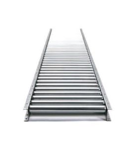 "Gravity Roller Steel Frame Conveyor 10' Straight Sections 18"" Wide 1.9"" Diameter Rollers 4.5"" Roller Centers"