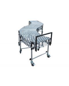 "Nestaflex 18"" Wide, Expandable 2'4"" – 8'11"" Long, Gravity Skate Wheel Conveyor with Steel Skate Wheels"