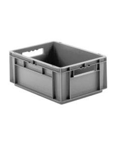 "SSI Schaefer Euro-Fix® Modular Straight Wall Containers 11.9"" x 7.9"" x 4.7"" Solid Base & Sides Gray"