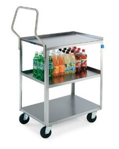 "Stainless Steel 3-Shelf Handler™ Series Utility Cart 28-1/2"" L x 16-1/4"" W x 34-1/8"" H"