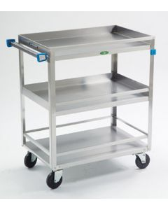 "Stainless Steel 3-Shelf Guard Rail Cart 32"" L x 19"" W x 33-3/4"" H"