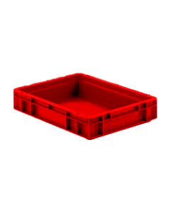 "SSI Schaefer Euro-Fix® Modular Straight Wall Containers 15.8"" x 11.9"" x 3"" Solid Base & Sides Red"