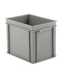 "SSI Schaefer Euro-Fix® Modular Straight Wall Container 15.8"" x 11.9"" x 12.6"" Solid Base & Sides Gray"