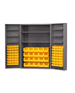 "Durham 84 Bin Heavy Duty Security Cabinet 4"" Deep Box Door 48"" x 24"" x 84"""