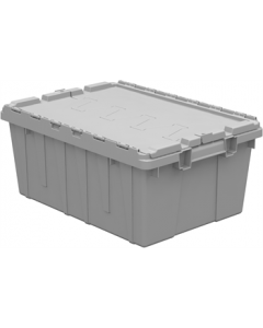 "Buckhorn 21"" x 15"" x 9"" Attached Lid Container - Gray"