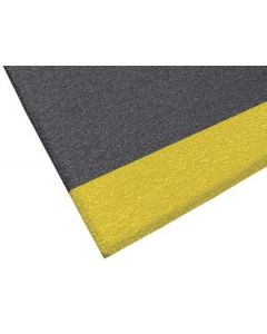 Apache Safety Soft Foot Pebble Embossed 3' x 5' Black with OSHA Yellow Borders