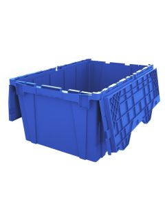 "Ted Thorsen 27"" x 17"" x 12"" Plastic Attached Lid Container - Blue"