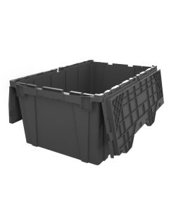 "Ted Thorsen 21"" x 15"" x 12"" Heavy Duty Plastic Attached Lid Container - Gray"