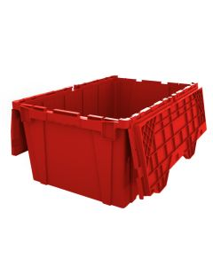 "Ted Thorsen 27"" x 17"" x 12"" Plastic Attached Lid Container - Red"