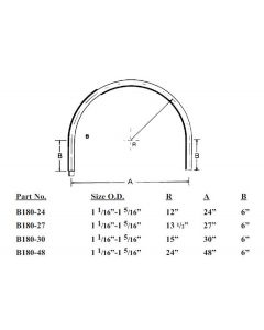 """180° Bend 12"""" Radius GT Rail Size 1-1/16"""" - 1-5/16"""" O.D."""