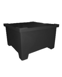 "Bayhead Straight Wall Pallet Container with lid 43.5"" x 43.5"" x 26"" Black"