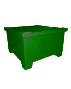 "Bayhead Straight Wall Pallet Container with lid 43.5"" x 43.5"" x 26"" Green"