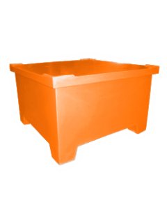 "Bayhead Straight Wall Pallet Container with lid 43.5"" x 43.5"" x 26"" Orange"