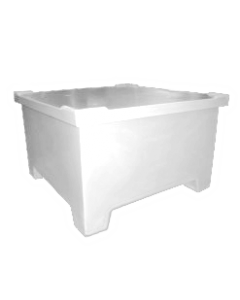 "Bayhead Straight Wall Pallet Container with lid 43.5"" x 43.5"" x 26"" White"