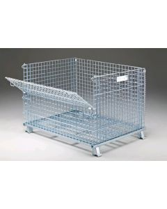 "Nashville Wire 40"" x 48"" x 30"" Stackable Collapsible Front Load Container"
