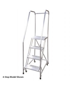 "Cotterman 2 Step Aluminum Rolling Ladder with 18"" wide Solid Ribbed Aluminum Treads and Handrails"