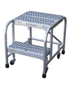 "Cotterman 2 Step Aluminum Rolling Ladder with 18"" wide Solid Ribbed Aluminum Treads-No Handrails"