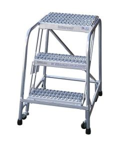 "Cotterman 3 Step Aluminum Rolling Ladder with 26"" wide Serrated Treads-No Handrails"