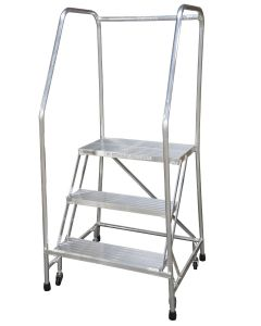 "Cotterman 3 Step Aluminum Rolling Ladder with 26"" wide Solid Ribbed Aluminum Treads and Handrails"