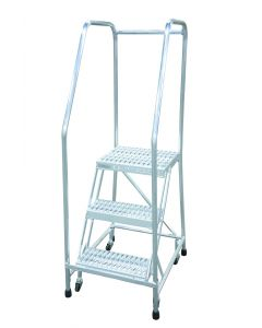 "Cotterman 3 Step Aluminum Rolling Ladder with 18"" wide Solid Ribbed Aluminum Treads and Handrails"