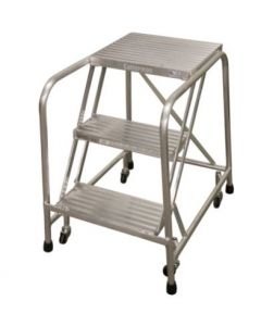 "Cotterman 3 Step Aluminum Rolling Ladder with 26"" wide Solid Ribbed Aluminum Treads-No Handrails"