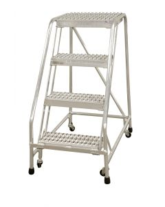 "Cotterman 4 Step Aluminum Rolling Ladder with 26"" wide Solid Ribbed Aluminum Treads-No Handrails"