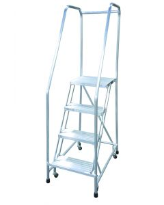 "Cotterman 4 Step Aluminum Rolling Ladder with 18"" wide Solid Ribbed Aluminum Treads and Handrails"