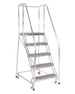 "Cotterman 5 Step Aluminum Rolling Ladder with 26"" wide Solid Ribbed Aluminum Treads and Handrails"