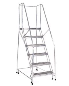 "Cotterman 6 Step Aluminum Rolling Ladder with 18"" wide Solid Ribbed Aluminum Treads and Handrails"