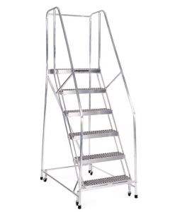 "Cotterman 6 Step Aluminum Rolling Ladder with 18"" wide Serrated Treads and Handrails"
