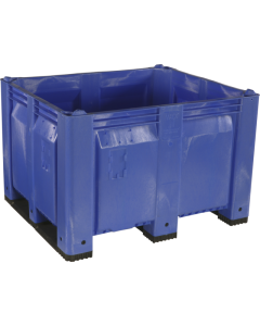 "Decade MACX 40"" x 48"" x 31"" Fixed Wall Bulk Container with Shortside Runners - Blue"