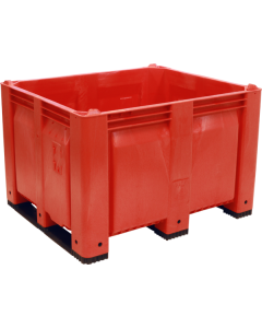 "Decade MACX 40"" x 48"" x 31"" Fixed Wall Bulk Container with Shortside Runners - Red"
