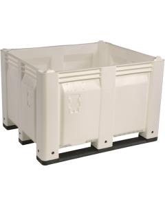 "Decade MACX 40"" x 48"" x 31"" Fixed Wall Bulk Container with Longside Runners - White"