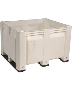 "Decade MACX 40"" x 48"" x 31"" Fixed Wall Bulk Container with Shortside Runners - White"