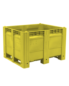 "Decade MACX Ace 48"" x 40"" x 31"" Integrated 3-Runner Solid Wall Container - Yellow"
