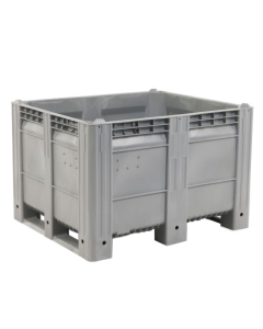 "Decade MACX Ace 48"" x 40"" x 31"" Integrated 3-Runner Solid Wall Container - Gray"
