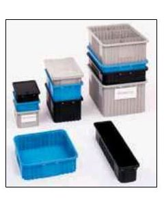 "METRO® Divider Tote Box  Blue Static Dissipative (BAS) 10.9"" x 8.3"" x 3.5"""
