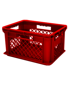 "SSI Schaefer Euro-Fix® Modular Straight Wall Containers 15.8"" x 11.9"" x 4.8"" Mesh Base & Mesh Sides Red"
