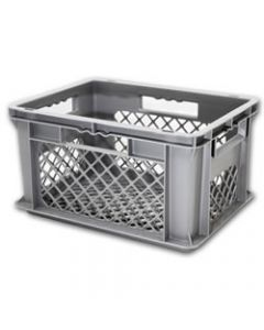 "SSI Schaefer Euro-Fix® Modular Straight Wall Containers 15.8"" x 11.9"" x 4.8"" Mesh Base & Mesh Sides Gray"