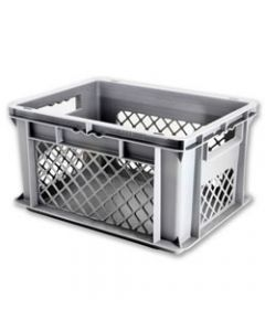 "SSI Schaefer Euro-Fix® Modular Straight Wall Containers 23.7"" X 15.8"" X 12.6"" Solid Base & Mesh Sides Gray"
