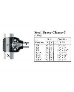 "3 Way Steel Brace Clamp Inside Pipe Size 1-1/4"" x 1"""