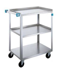 "Stainless Steel 3-Shelf Utility Cart 27-1/2"" L x 16-1/4"" W x 32-1/8"" H"