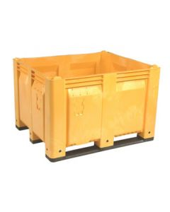 "Decade MACX 40"" x 48"" x 31"" Fixed Wall Bulk Container with Longside Runners - Yellow"