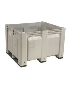 "Decade MACX 40"" x 48"" x 31"" Fixed Wall Bulk Container with Shortside Runners - Gray"
