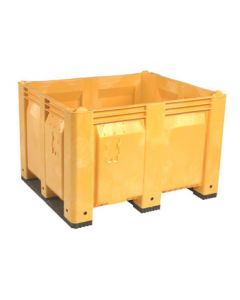 "Decade MACX 40"" x 48"" x 31"" Fixed Wall Bulk Container with Shortside Runners - Yellow"