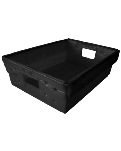"Corrugated Plastic Nestable Tote 18"" x 13"" x 6"" Black"