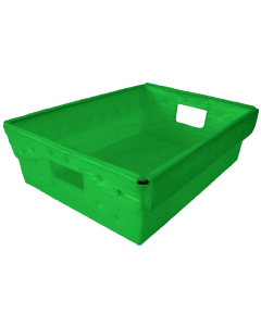 "Corrugated Plastic Nestable Tote 18"" x 13"" x 6"" Green"