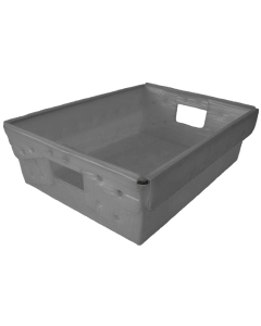 "Corrugated Plastic Nestable Tote 18"" x 13"" x 6"" Gray"