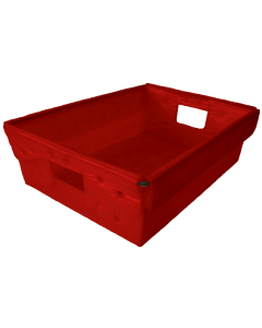 "Corrugated Plastic Nestable Tote 18"" x 13"" x 6""  Red"